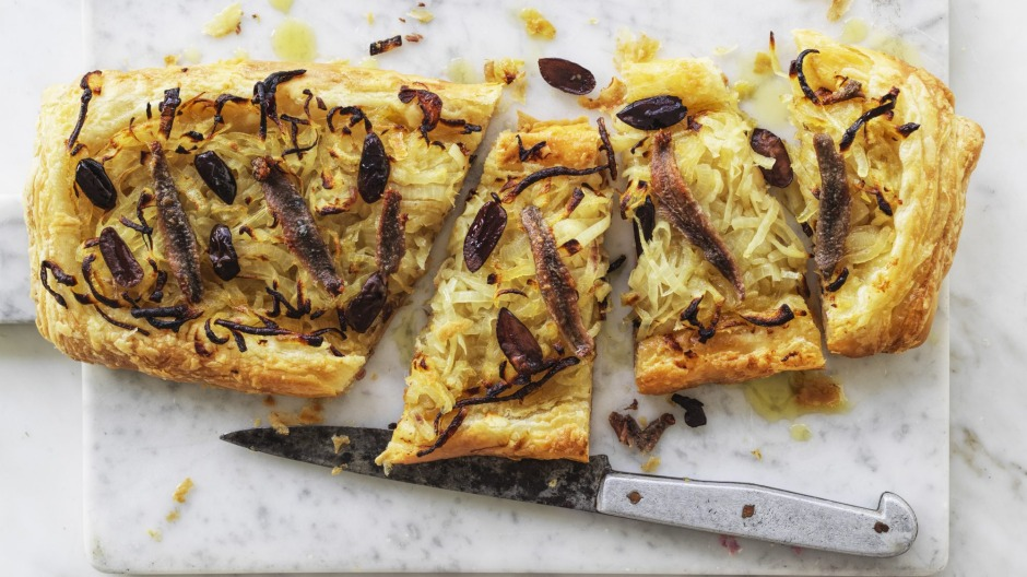Andrew McConnell's anchovy, onion and olive tart.