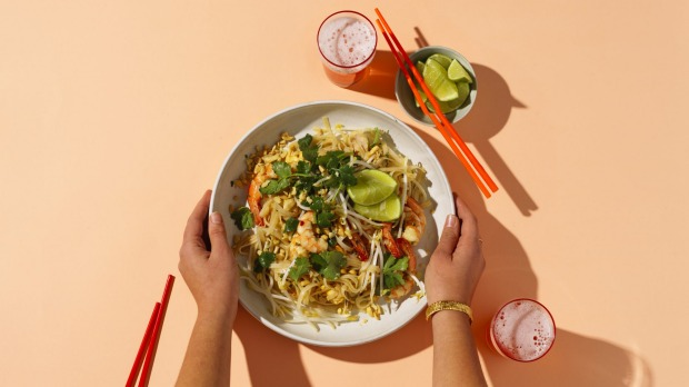 ***EMBARGOED FOR GOOD FOOD MAGAZINE, OCTOBER 2, 2019 ISSUE*** Jill Dupleix masterclass Pad Thai. Photography by William Meppem (photographer on contract, no restrictions)