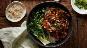 Flavour explosion: Firecracker chicken with steamed greens and rice.