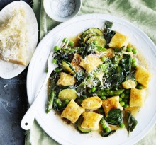 Neil Perry's ricotta gnocchi with spring vegetables and burnt butter.