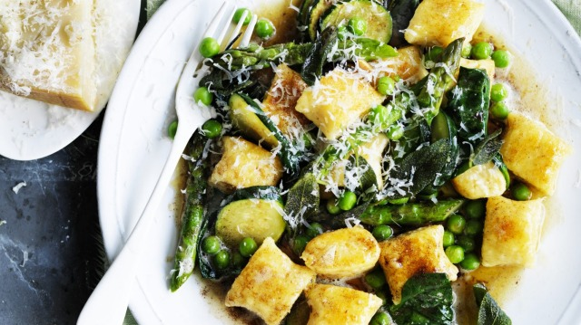 Ricotta gnocchi with spring vegetables and burnt butter.