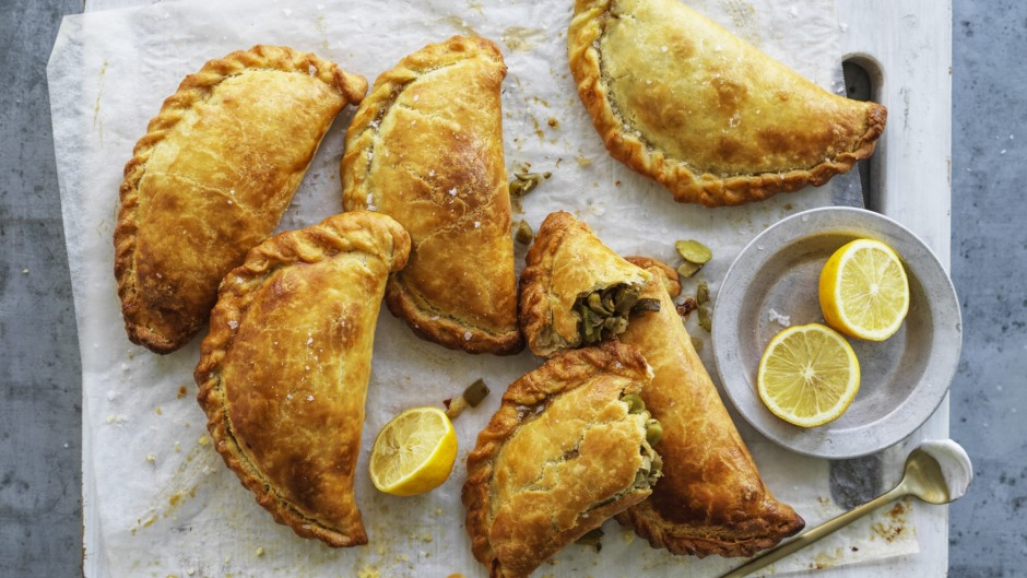 Empanadas filled with sauteed zucchini, chillies, olives and fresh beans.