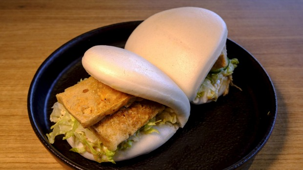 Bao are like savoury marshmallows, here stuffed with tofu.
