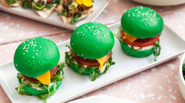 Plant-based burgers get their colour from matcha and other natural ingredients.