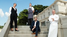 The new line-up (from left): Jess Mead (restaurant manager), Cameron Johnston (head chef), Cam Fairbairn (GM of ...