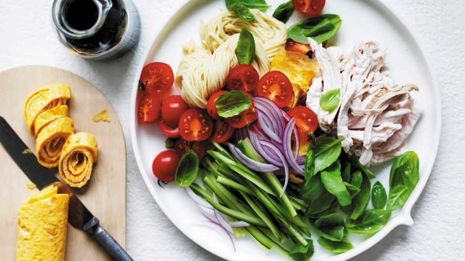 Adam Liaw's chicken noodle salad is delicious at any age.