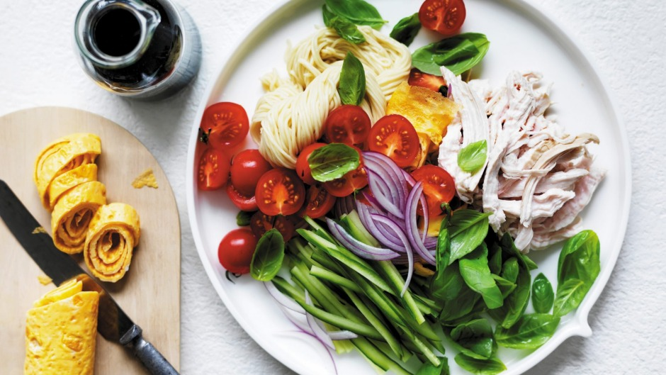 Keep a supply of cooked chicken breast in your fridge so you can rustle up Adam Liaw's chicken noodle salad.
