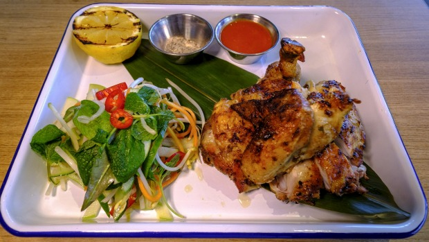 Grilled half chicken.