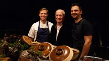 Rick Stein (centre) with head chef Mitch Turner (left) and special guest Lennox Hastie (right).