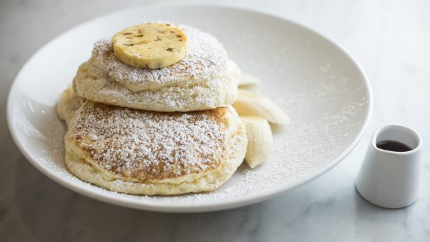 GOOD FOOD: Bills 433 Liverpool St, Darlinghurst. Ricotta hotcakes, banana and honeycomb butter. 1st August 2019, Photo: Wolter Peeters, The Sydney Morning Herald.