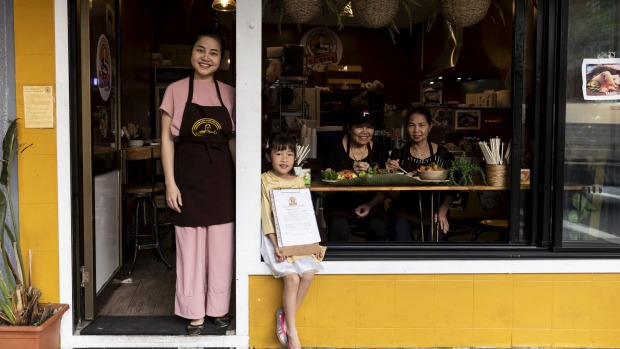 Owner of Banh Cuon Ba Oanh, Minh Thuy Nguyen with her daughter My Nguyen, aunt Ba Linh (seated left) and mother Ba Oanh ...