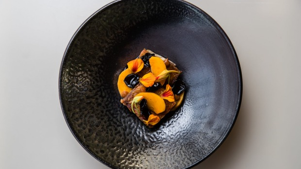 Crisp confit duck, kumquat and kampot pepper marmalade, black fungi and umeboshi. Exclusive to the new House Lunch menu ...