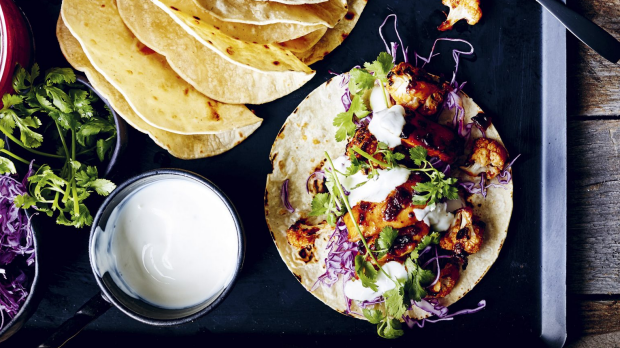 Chipotle chicken and cauliflower tacos.Recipe from Week Light: Super-Fast Meals to Make You Feel Good by Donna Hay. Published by HarperCollins Publishers (Australia) Pty Ltd. RRP $45. Pic credit: Con Poulos For Good Food Magazine, October 4, 2019. Photographer: Con Poulos (Single print and online use) GOOD FOOD RGB