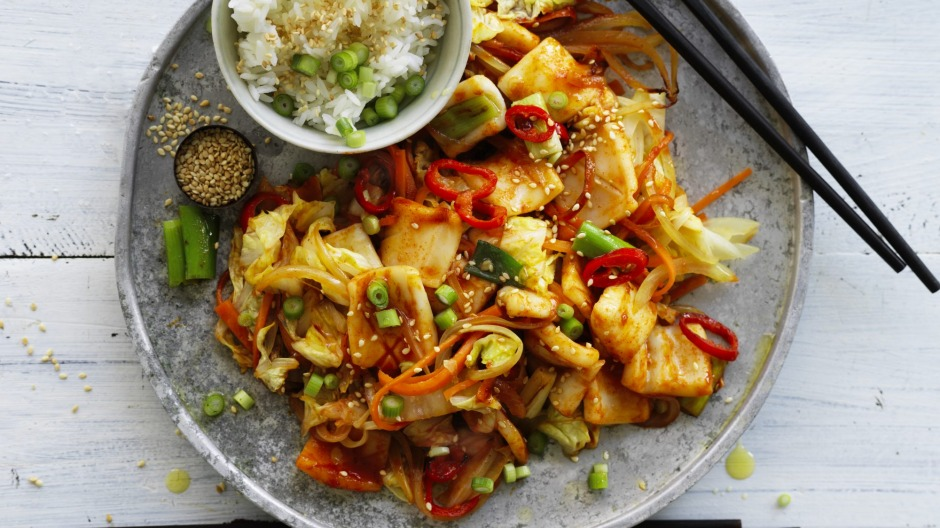 Neil Perry's stir-fried spicy squid.