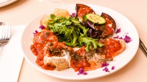 The mixed entree includes ashak, mantoo and grilled eggplant.