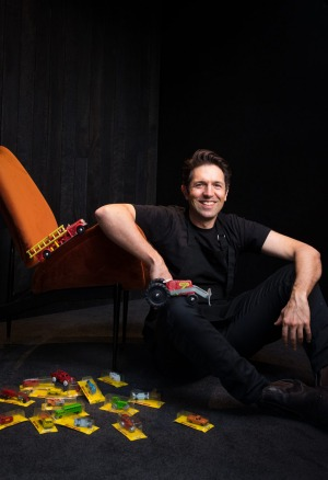 Ben Shewry and his beloved Featherston chair and toys.