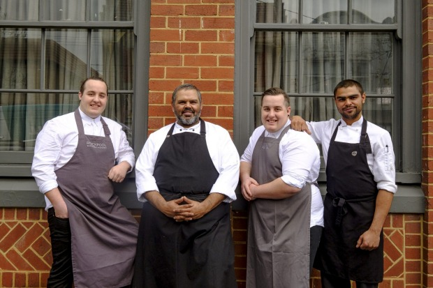 Food for Good Award: National Indigenous Culinary Institute, NSW and Victoria. (Left to right: Luke Bourke, David Gray, ...