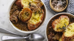 Stew meets soup: Adam Liaw's French onion beef stew (with cheese on toast, too!).