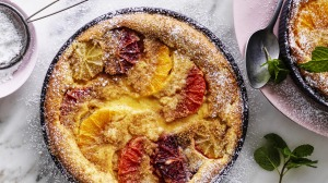 Citrus and almond clafoutis.