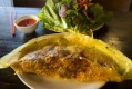 Sunshiny yellow banh xeo (Vietnamese pancake) served at Co Do in Sunshine.