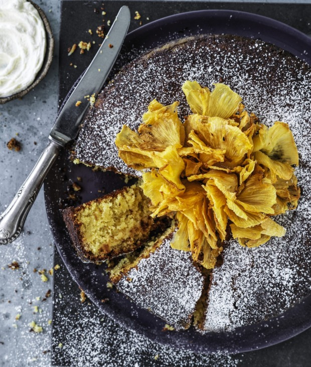 Pineapple and polenta cake.