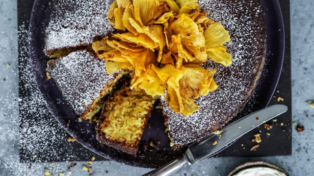 Pineapple and polenta cake topped with a pineapple 'flower' flourish.