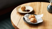 Wine-friendly snacks: Oxtail doughnut and chicken liver parfait profiteroles with PX jelly.