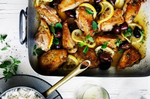 Neil Perry's braised chicken with olives, lemon and oregano.