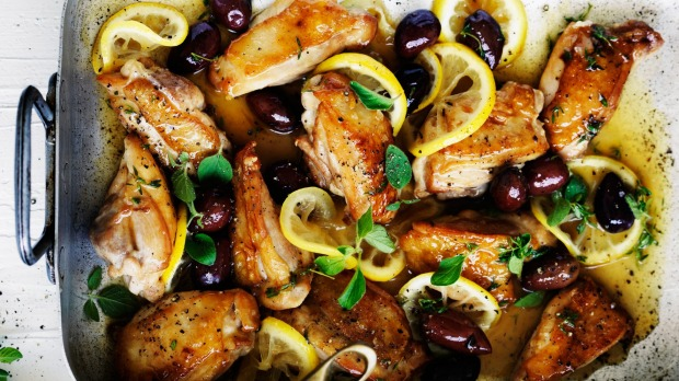 Neil Perry's braised chicken with lemon, oregano and olives.