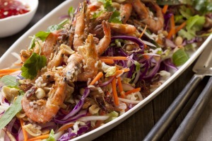 Colourful Vietnamese coleslaw with crispy prawns.