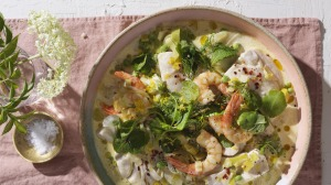 Alison Roman's springy fish stew (prawns optional).