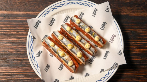 Go-to dish: Crostini stacked with 'nduja and anchovy.