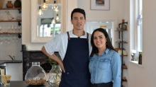 Chef and owner Brian Anderson with partner Amy Evans at modern Asian restaurant Baah Lah.