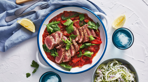 Lamb paprikash with soured zoodles