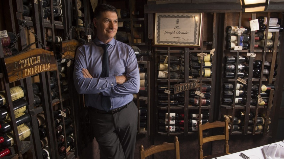 Beppi's owner Marc Polese in one of the restaurant's wine cellar dining rooms.