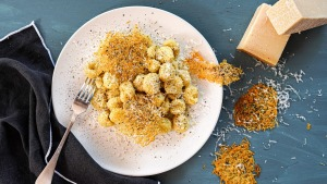 Cacio e pepe (cheese and pepper) gnocchi with cacio e pepe crisps.