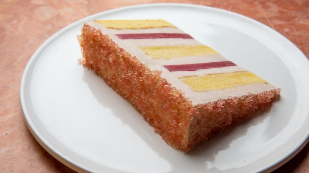 Arc Dining's peach melba cake iced with finger limes