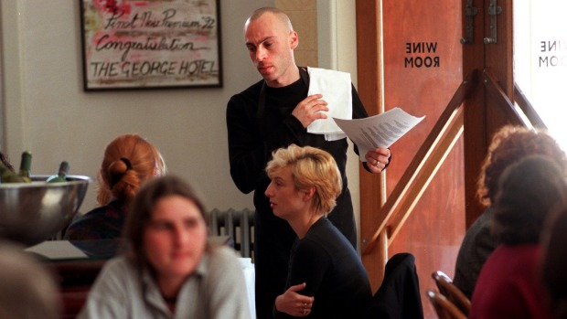 Maurizio Terzini waiting tables at the Melbourne Wine Room, 1996.