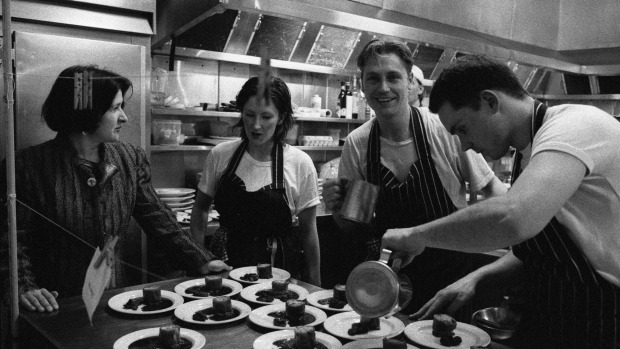 Mietta O'Donnell, Philippa Sibley, Donovan Cooke and an unknown chef in 1996.