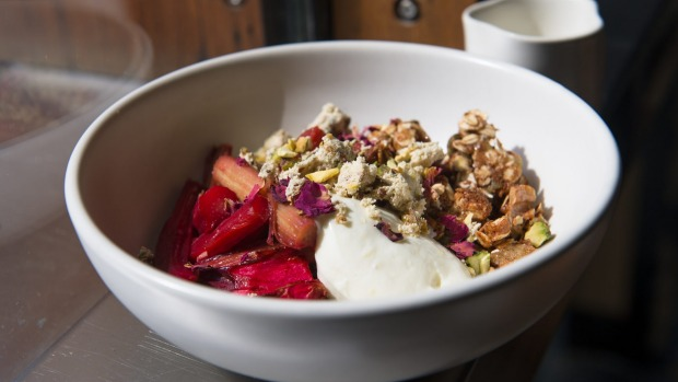 Spelt and maple granola, roasted rhubarb, berries, whipped ricotta.