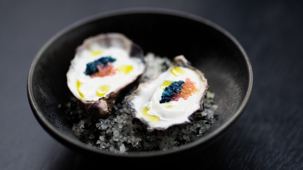 Rock oyster, yuzu kosho and scampi caviar.