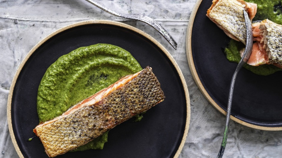 Salmon with green vegetable sauce.