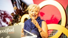 Maggie Beer accepts the Vittoria Coffee Legend Award.