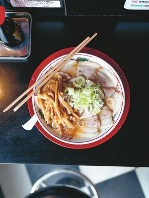 Ramen ready: Saikoro is popular among ramen geeks. Pictured here is a particular favourite: pork and bamboo.