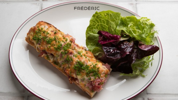 Croque monsieur is served at Fred's for breakfast.
