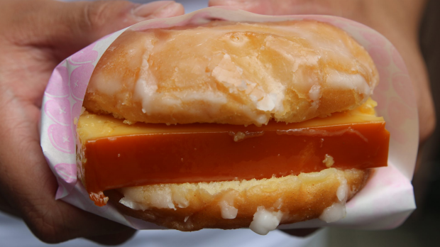 Leche Flan Donut Burget from Donut Papi.