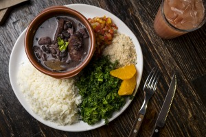 A serve of feijoada, a pork stew.