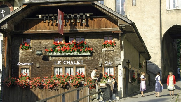 Le Chalet, one of Gruyeres many restaurants.