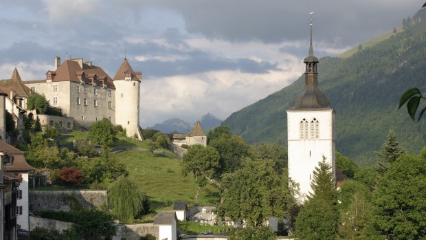 Gruyeres castle and church, Switzerland.