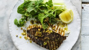 Barbecued fish with a loose and nutty salsa.